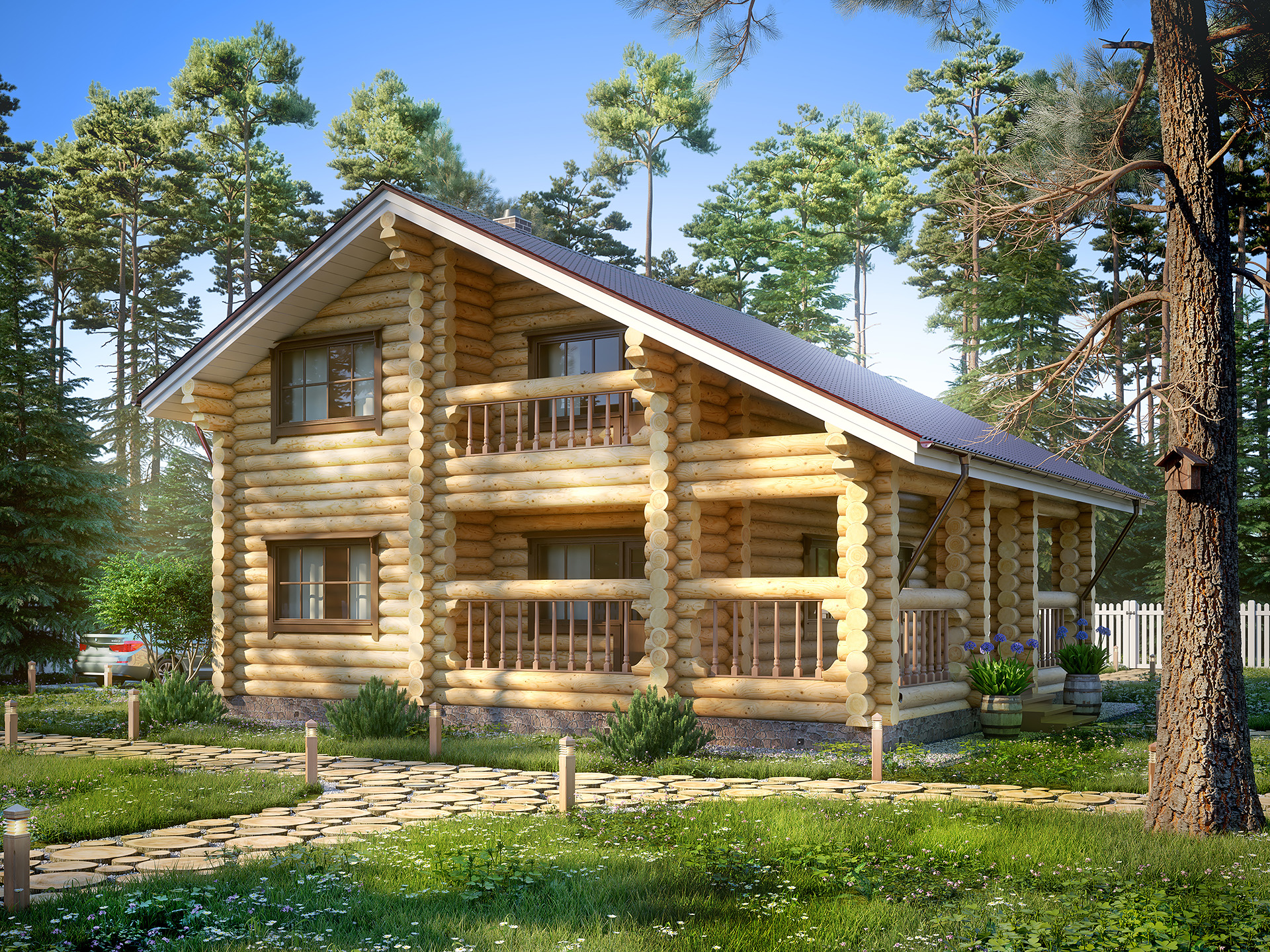 3d visualization wood house