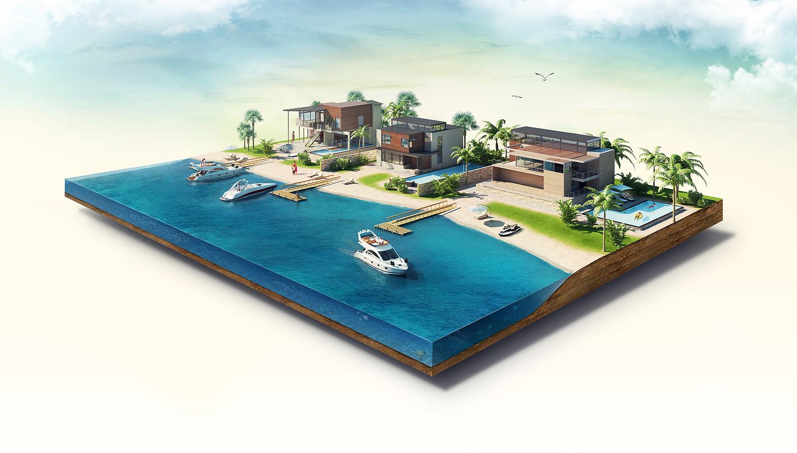 Beautiful shore 3d illustration