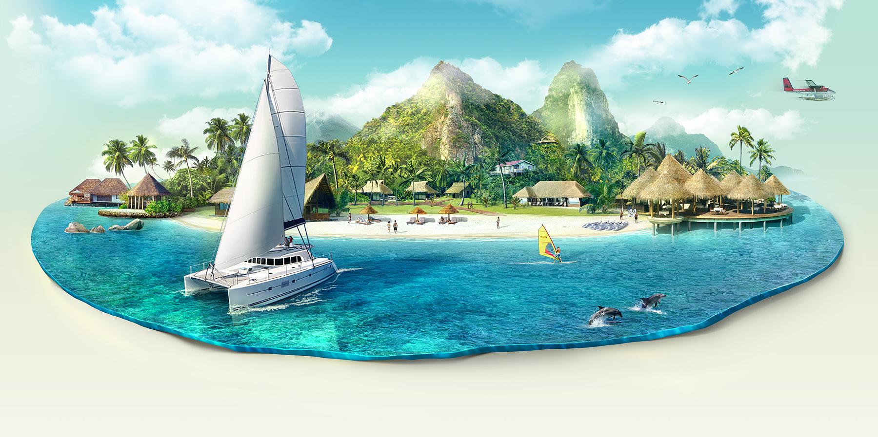3D иллюстрация острова