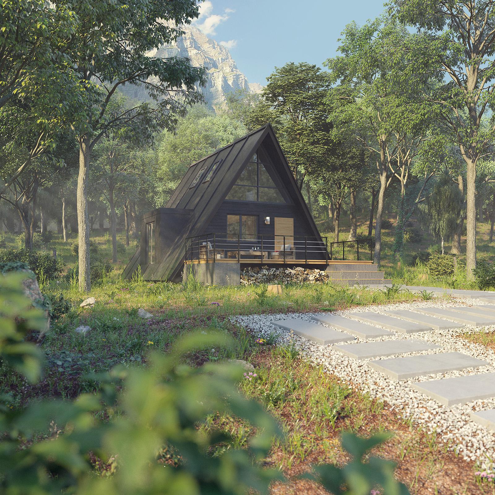 Лесной дом 3D визуализация